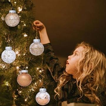 LessMo 30 Stück Weihnachtskugeln, 60mm Bruchsicher Kunststoff Christbaumkugeln, Weihnachtsbaum Deko Baumschmuck zum Aufhängen für Weihnachten Hängedekorationen Festival Feiertagsdekoration - 4