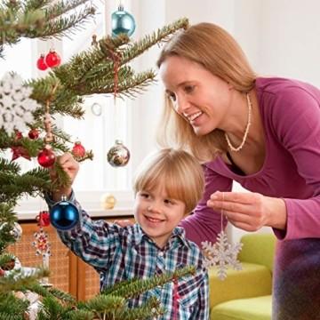 LessMo 30 Stück Weihnachtskugeln, 60mm Bruchsicher Kunststoff Christbaumkugeln, Weihnachtsbaum Deko Baumschmuck zum Aufhängen für Weihnachten Hängedekorationen Festival Feiertagsdekoration - 3
