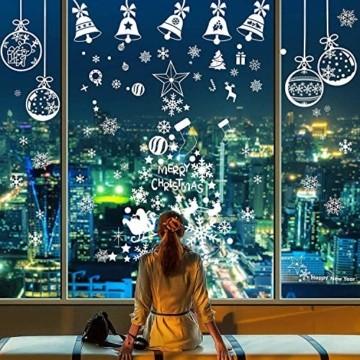 LessMo Weihnachtsfenster Aufkleber, 284 Pcs Fensterdeko Weihnachten, Party Neujahrsbedarf, DIY-Dekorationen für Türen, Fenster und Vitrinen, Weihnachten Theme Party, PVC Statische Aufkleber - 1