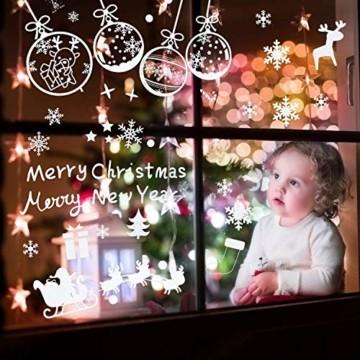 LessMo Weihnachtsfenster Aufkleber, 284 Pcs Fensterdeko Weihnachten, Party Neujahrsbedarf, DIY-Dekorationen für Türen, Fenster und Vitrinen, Weihnachten Theme Party, PVC Statische Aufkleber - 5