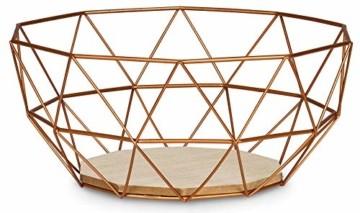 levandeo Korb Metall Kupfer 26x12cm Obstkorb Modern Holz MDF Braun Schüssel Schale Deko Design Tischdeko - 1