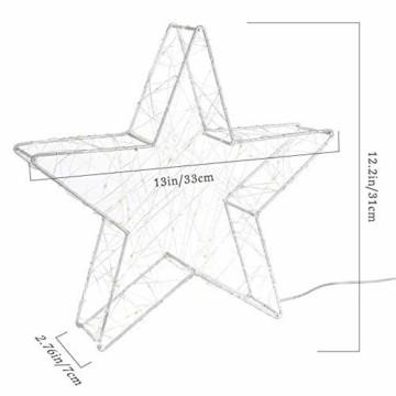 Lewondr Dekorativ Licht, LED Stimmungslicht Tischlampe Nachtlicht, Lichterketten mit Stern Eisenrahmen, Batteriebetrieben Warmweiß Licht für Weihnachten Dekoration Innen Außen Garten - Silber - 2