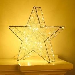 Lewondr Dekorativ Licht, LED Stimmungslicht Tischlampe Nachtlicht, Lichterketten mit Stern Eisenrahmen, Batteriebetrieben Warmweiß Licht für Weihnachten Dekoration Innen Außen Garten - Silber - 1