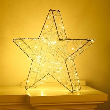 Lewondr Dekorativ Licht, LED Stimmungslicht Tischlampe Nachtlicht, Lichterketten mit Stern Eisenrahmen, Batteriebetrieben Warmweiß Licht für Weihnachten Dekoration Innen Außen Garten - Silber - 5