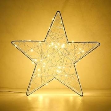 Lewondr Dekorativ Licht, LED Stimmungslicht Tischlampe Nachtlicht, Lichterketten mit Stern Eisenrahmen, Batteriebetrieben Warmweiß Licht für Weihnachten Dekoration Innen Außen Garten - Silber - 6