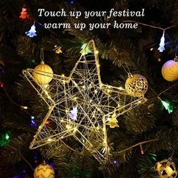 Lewondr Dekorativ Licht, LED Stimmungslicht Tischlampe Nachtlicht, Lichterketten mit Stern Eisenrahmen, Batteriebetrieben Warmweiß Licht für Weihnachten Dekoration Innen Außen Garten - Silber - 8