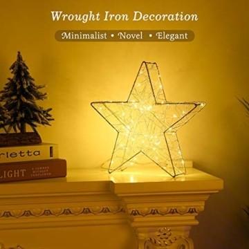 Lewondr Dekorativ Licht, LED Stimmungslicht Tischlampe Nachtlicht, Lichterketten mit Stern Eisenrahmen, Batteriebetrieben Warmweiß Licht für Weihnachten Dekoration Innen Außen Garten - Silber - 9