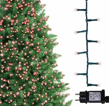 Lichterkette 500 LED 12.5m/41 ft Weihnachtsbaum beleuchtung, Lichtkette innen außen Für Weihnachten/Weihnachtslichter/Hochzeiten/Partys/Weihnachtsdekorationen rot - Grün Kabel - 7