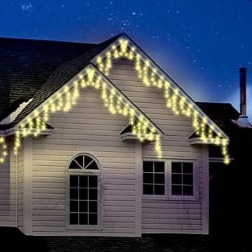 Lichterkette Außen 320 LED 11m/36ft Eisregen Lichterkette Aussen Weihnachten mit timer Outdoor Eiszapfen Strom Weihnachten Deko/Hochzeiten/Party Warm Weiß - Grünes Kabel - 2