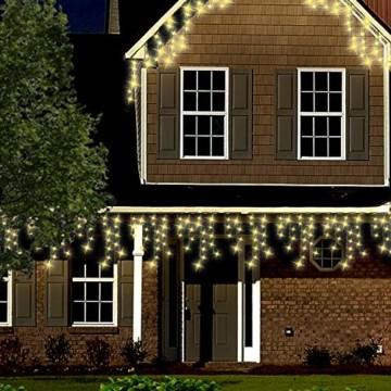 Lichterkette Außen 320 LED 11m/36ft Eisregen Lichterkette Aussen Weihnachten mit timer Outdoor Eiszapfen Strom Weihnachten Deko/Hochzeiten/Party Warm Weiß - Grünes Kabel - 3