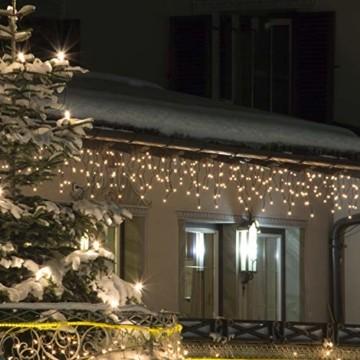 Lichterkette Außen 320 LED 11m/36ft Eisregen Lichterkette Aussen Weihnachten mit timer Outdoor Eiszapfen Strom Weihnachten Deko/Hochzeiten/Party Warm Weiß - Grünes Kabel - 4