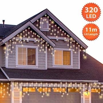 Lichterkette Außen 320 LED 11m/36ft Eisregen Lichterkette Aussen Weihnachten mit timer Outdoor Eiszapfen Strom Weihnachten Deko/Hochzeiten/Party Warm Weiß - Grünes Kabel - 5