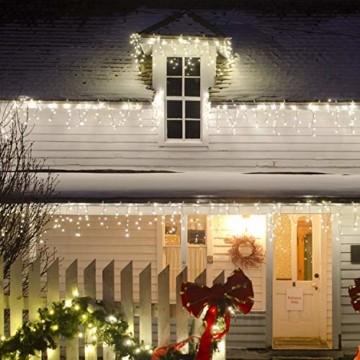 Lichterkette Außen 320 LED 11m/36ft Eisregen Lichterkette Aussen Weihnachten mit timer Outdoor Eiszapfen Strom Weihnachten Deko/Hochzeiten/Party Warm Weiß - Grünes Kabel - 6