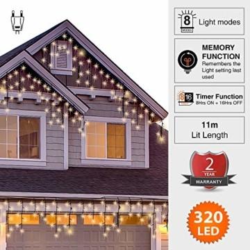Lichterkette Außen 320 LED 11m/36ft Eisregen Lichterkette Aussen Weihnachten mit timer Outdoor Eiszapfen Strom Weihnachten Deko/Hochzeiten/Party Warm Weiß - Grünes Kabel - 7