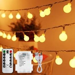 Lichterkette Außen Batterie 10M, Infankey 100LED Led Lichterkette mit Batterie/USB mit Fernbedienung, 8 Modi& Timing-Funktion, IP44 Wasserdicht, lichterkette batterie Perfekt für Garten, Partys - 1