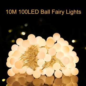 Lichterkette Außen Batterie 10M, Infankey 100LED Led Lichterkette mit Batterie/USB mit Fernbedienung, 8 Modi& Timing-Funktion, IP44 Wasserdicht, lichterkette batterie Perfekt für Garten, Partys - 5