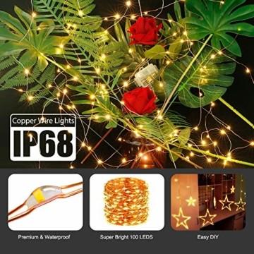 Lichterkette Batterie, 2er 10M 100 LED Lichterkette 8 Modi Außenbeleuchtung Kupferdraht Wasserdichte IP68 mit Fernbedienung und Timer für Innen/Außen Dekoration (Warmweiß) - 2