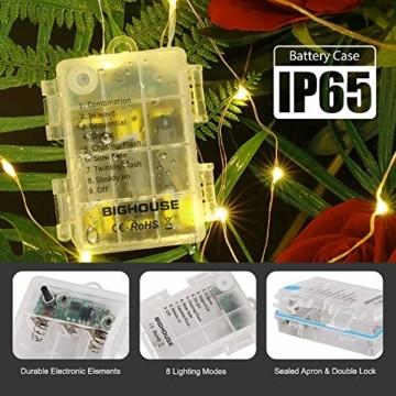 Lichterkette Batterie, 2er 10M 100 LED Lichterkette 8 Modi Außenbeleuchtung Kupferdraht Wasserdichte IP68 mit Fernbedienung und Timer für Innen/Außen Dekoration (Warmweiß) - 3