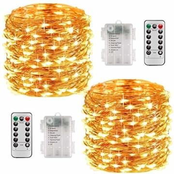 Lichterkette Batterie, 2er 10M 100 LED Lichterkette 8 Modi Außenbeleuchtung Kupferdraht Wasserdichte IP68 mit Fernbedienung und Timer für Innen/Außen Dekoration (Warmweiß) - 1