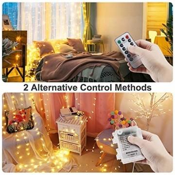 Lichterkette Batterie, 2er 10M 100 LED Lichterkette 8 Modi Außenbeleuchtung Kupferdraht Wasserdichte IP68 mit Fernbedienung und Timer für Innen/Außen Dekoration (Warmweiß) - 6