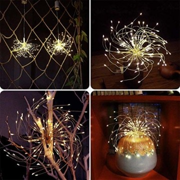 Lichterkette Feuerwerk, 120 LED Lichterketten Warmweiß Batteriebetrieben Fernbedienung DIY Feuerwerk Licht Kupferdraht Wasserdicht 8 Modi Beleuchtungs für Innen Außen Deko Weihnachten Hochzeit Party - 4
