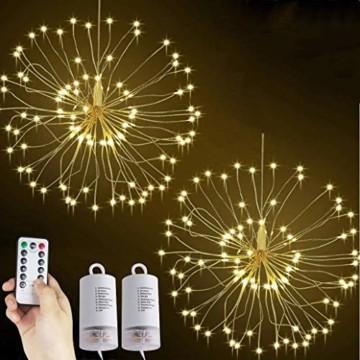 Lichterkette Feuerwerk, 120 LED Lichterketten Warmweiß Batteriebetrieben Fernbedienung DIY Feuerwerk Licht Kupferdraht Wasserdicht 8 Modi Beleuchtungs für Innen Außen Deko Weihnachten Hochzeit Party - 1