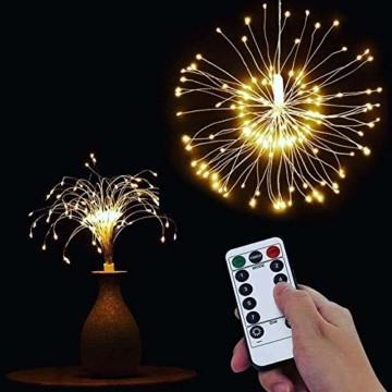 Lichterkette Feuerwerk, 120 LED Lichterketten Warmweiß Batteriebetrieben Fernbedienung DIY Feuerwerk Licht Kupferdraht Wasserdicht 8 Modi Beleuchtungs für Innen Außen Deko Weihnachten Hochzeit Party - 6