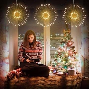 Lichterkette Feuerwerk, 120 LED Lichterketten Warmweiß Batteriebetrieben Fernbedienung DIY Feuerwerk Licht Kupferdraht Wasserdicht 8 Modi Beleuchtungs für Innen Außen Deko Weihnachten Hochzeit Party - 7