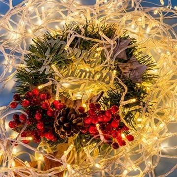 Lichterkette WISD 200 LED 23M Warmweiss Innen und Außen LED Beleuchtung mit EU Stecker auf Transparent Kabel für Weihnachten Garten Festival Party Hochzeit Dekoration Weihnachtsbaum Deko - 4