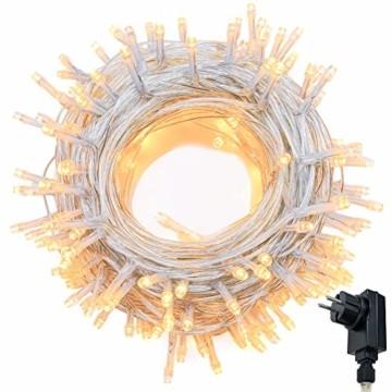 Lichterkette WISD 200 LED 23M Warmweiss Innen und Außen LED Beleuchtung mit EU Stecker auf Transparent Kabel für Weihnachten Garten Festival Party Hochzeit Dekoration Weihnachtsbaum Deko - 1