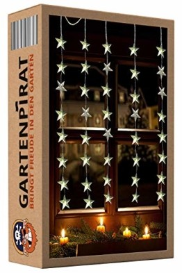 Lichtervorhang 1m 40 Sterne LED warmweiß beleuchtet Lichterkette für Fenster Weihnachten - 1