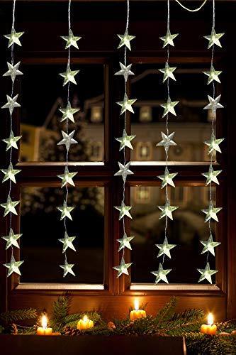 Lichtervorhang 1m 40 Sterne LED warmweiß beleuchtet Lichterkette für Fenster Weihnachten - 4