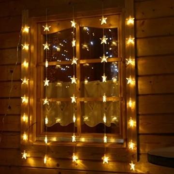 Lichtervorhang 1m 40 Sterne LED warmweiß beleuchtet Lichterkette für Fenster Weihnachten - 6