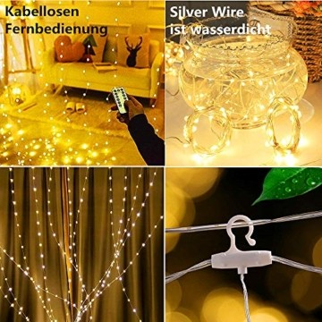 Lichtervorhang Aussen 3x3m,300 LEDs USB Vorhang lichterkette, Weihnachtsdeko Fenster Beleuchtet 8 Modi mit Fernbedienung Innen und Außen Vorhang Lichter für Zimmer Schlafzimmer Hochzeit Deko, Warmweiß - 3