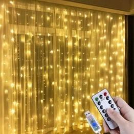 Lichtervorhang Aussen 3x3m,300 LEDs USB Vorhang lichterkette, Weihnachtsdeko Fenster Beleuchtet 8 Modi mit Fernbedienung Innen und Außen Vorhang Lichter für Zimmer Schlafzimmer Hochzeit Deko, Warmweiß - 1