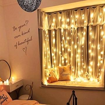 Lichtervorhang Aussen 3x3m,300 LEDs USB Vorhang lichterkette, Weihnachtsdeko Fenster Beleuchtet 8 Modi mit Fernbedienung Innen und Außen Vorhang Lichter für Zimmer Schlafzimmer Hochzeit Deko, Warmweiß - 4