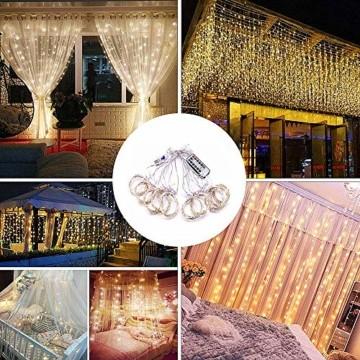 Lichtervorhang Aussen 3x3m,300 LEDs USB Vorhang lichterkette, Weihnachtsdeko Fenster Beleuchtet 8 Modi mit Fernbedienung Innen und Außen Vorhang Lichter für Zimmer Schlafzimmer Hochzeit Deko, Warmweiß - 6