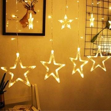 lichtervorhang fenster led,Lichterkette,Lichtervorhang Lichter Weihnachtsbeleuchtung mit 8 Flimmer-Modi,LED Lichterkette,Lichtervorhang Fenster Sterne,LED Sterne Lichterkette (Warmweiß-1) - 2
