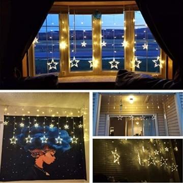 lichtervorhang fenster led,Lichterkette,Lichtervorhang Lichter Weihnachtsbeleuchtung mit 8 Flimmer-Modi,LED Lichterkette,Lichtervorhang Fenster Sterne,LED Sterne Lichterkette (Warmweiß-1) - 3