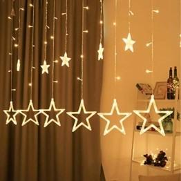 lichtervorhang fenster led,Lichterkette,Lichtervorhang Lichter Weihnachtsbeleuchtung mit 8 Flimmer-Modi,LED Lichterkette,Lichtervorhang Fenster Sterne,LED Sterne Lichterkette (Warmweiß-1) - 1
