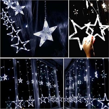 lichtervorhang fenster led,Lichterkette,Lichtervorhang Lichter Weihnachtsbeleuchtung mit 8 Flimmer-Modi,LED Lichterkette,Lichtervorhang Fenster Sterne,LED Sterne Lichterkette (Warmweiß-1) - 4