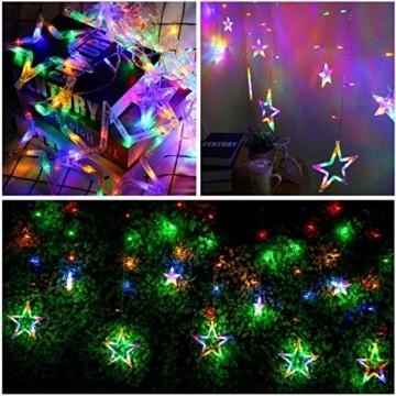lichtervorhang fenster led,Lichterkette,Lichtervorhang Lichter Weihnachtsbeleuchtung mit 8 Flimmer-Modi,LED Lichterkette,Lichtervorhang Fenster Sterne,LED Sterne Lichterkette (Warmweiß-1) - 6
