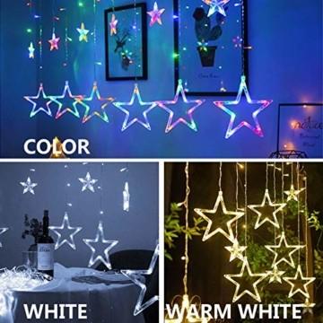 lichtervorhang fenster led,Lichterkette,Lichtervorhang Lichter Weihnachtsbeleuchtung mit 8 Flimmer-Modi,LED Lichterkette,Lichtervorhang Fenster Sterne,LED Sterne Lichterkette (Warmweiß-1) - 7
