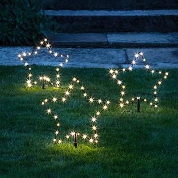 Lights4fun 3er Set Micro LED Sterne warmweiß 4,5V Außenbereich - 1