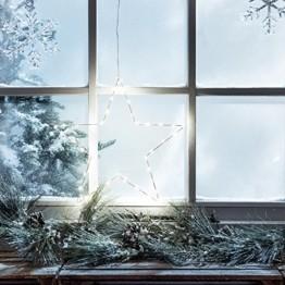 Lights4fun LED Stern Fensterbild Weihnachten Fensterdeko Timer Batteriebetrieb 35cm - 1