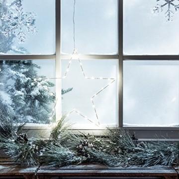 Lights4fun LED Stern Fensterbild Weihnachten Fensterdeko Timer Batteriebetrieb 35cm - 5