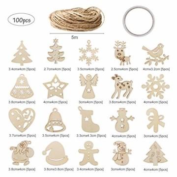 LIHAO 100 Stück Holzanhänger Weihnachtsanhänger Holzverzierungen Weihnachtsverzierungen Holz-Anhänger baumschmuck für Weihnachtsbaum Weihnachten Deko DIY - 2