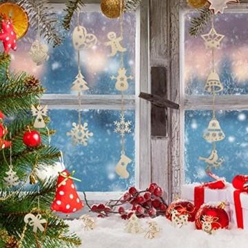 LIHAO 100 Stück Holzanhänger Weihnachtsanhänger Holzverzierungen Weihnachtsverzierungen Holz-Anhänger baumschmuck für Weihnachtsbaum Weihnachten Deko DIY - 3