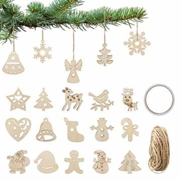LIHAO 100 Stück Holzanhänger Weihnachtsanhänger Holzverzierungen Weihnachtsverzierungen Holz-Anhänger baumschmuck für Weihnachtsbaum Weihnachten Deko DIY - 1