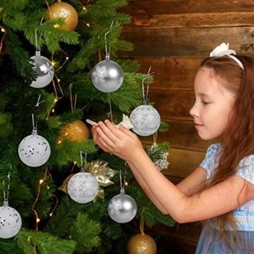 LIHAO 12er Set Weihnachtskugeln Christbaumkugeln Anhänger für Weihnachtsbaumschmuck Weihnachten Weihnachtsbaum Dekoration 6cm (Silber) - 2